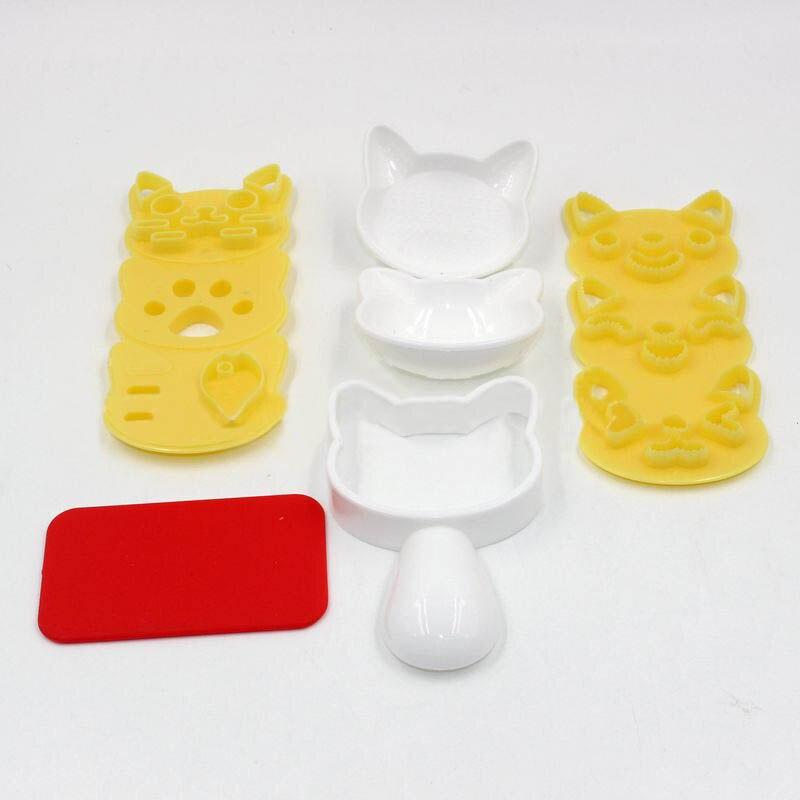 4 шт./компл. силиконовые формы милые улыбающегося кота Кухня гаджеты Портативный японский Стиль форма для приготовления бенто Пособия по кулинарии инструменты суши нори форма для риса-2