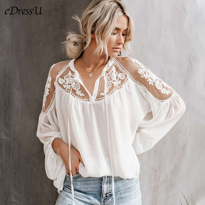 2020 Women Blouse Lace Chiffon Tops Loose Shirt Black White Delicate Oversize Blouse Elegant Office Daily Casual Wear OF-1845