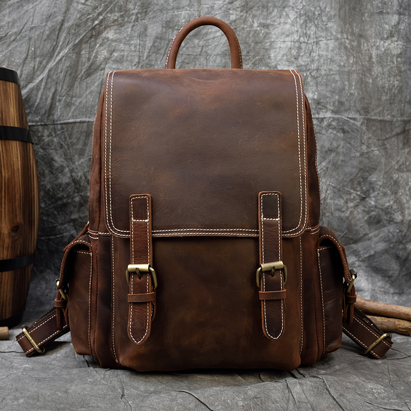 MAHEU Thick Leather Men Women Backpack Genuine Leather Travel Bag Casual Daypack Fashion Leather School Bags 2020 New Arrivals