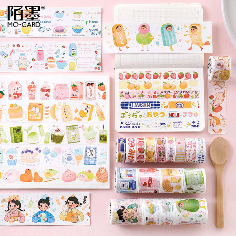 AngelHere Masking Tape Washi Strawberry Snack Pattern Scotch Tape Planner Book Decoration Diary Book Decoration Student Supplies