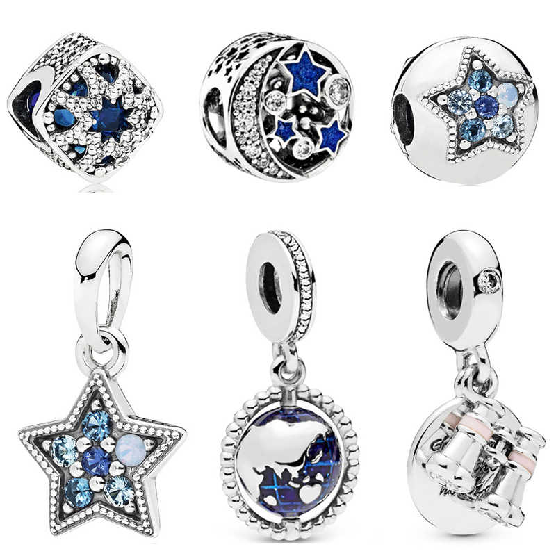 Octbyna Charms Crystal Star&Moon Beads Globe Pendant Fits Pandora Bracelets Necklace For Women Men DIY Fashion Jewelry Making