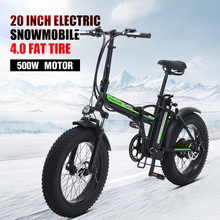 New Electric bicycle 20*4.0 fat tire 48V 500W electric beach cruiser bike Booster bicycle folding Aluminum alloy electric bike