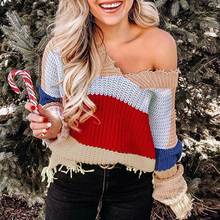 Fall 2019 Chic Rainbow Stripe Distressed Sweater Sexy V Neck Off The Shoulder Fringe Ripped Women Loose Knit Pull Femme