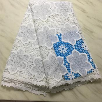 African Net Lace Fabric Elegant Cotton Embroidery 2019 High Quality France Guipure Lace Fabrics 5Yards     PLS68