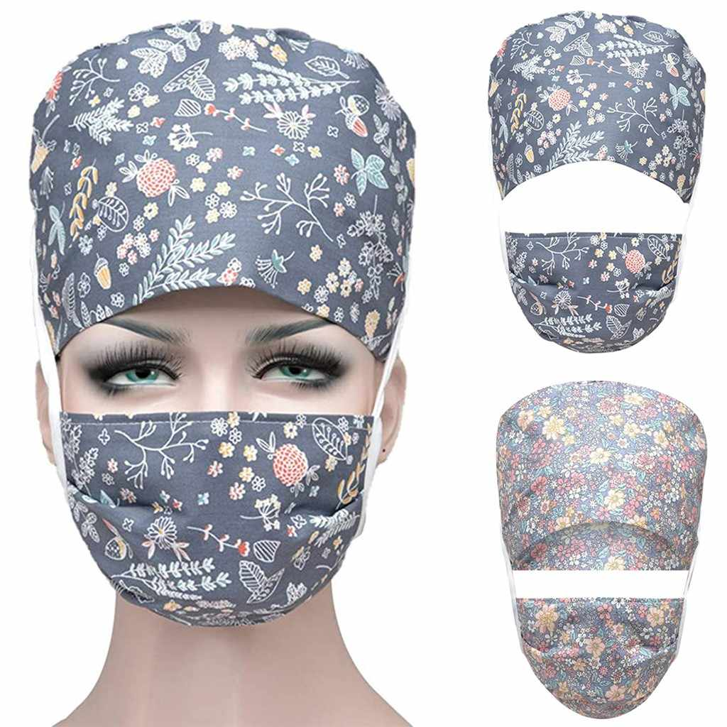 2020 Print Bouffant Adjustable Scrub Cap Sweatband Adjustable Tie Back Facemask Cap Gorro Enfermera Quirofano Working Hat