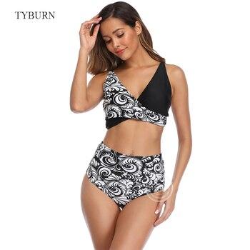 цена на TYBURN Bikini 2020 Sexy Push Up Bikinis Set Swimwear Women Swimsuits Bathing Suit Halter biquini Leaf Print Beach Wear