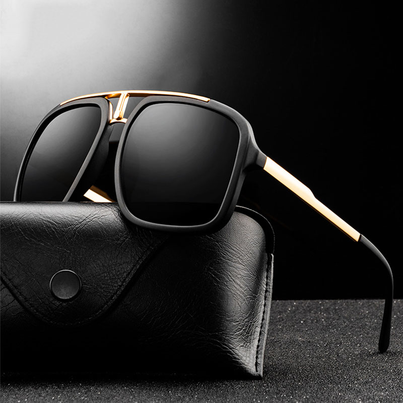 New Fashion Sunglasses Brand Design Vintage Men Square Sun glasses Luxury Male Oversized Shades UV400 Eyewear Gafas de Sol