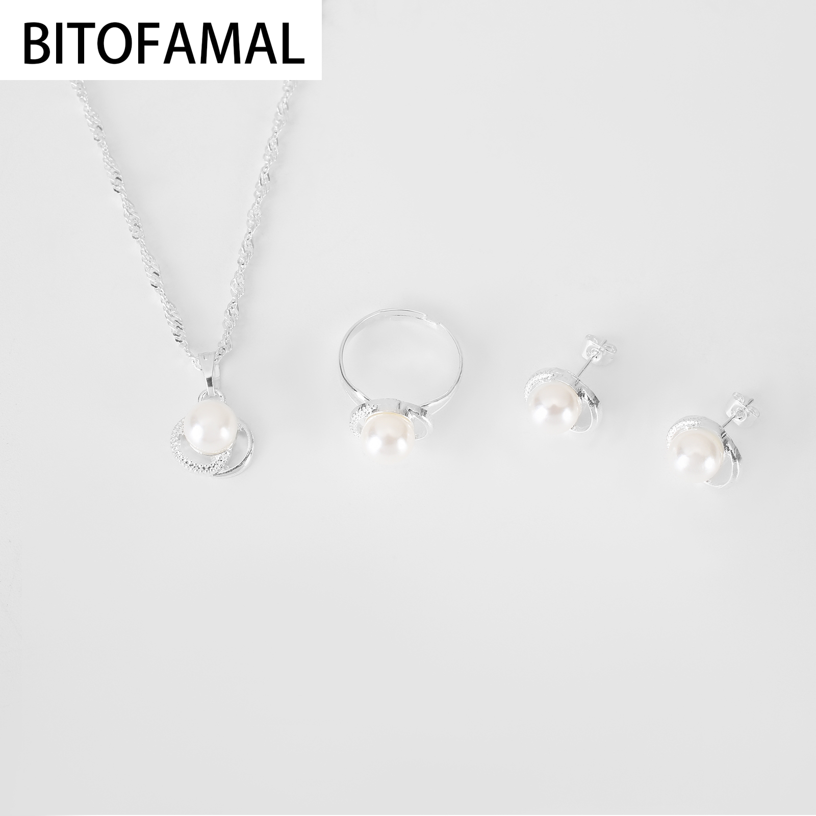 1 Set 3in1 Imitation Pearl Alloy Set Color white Earrings Necklace Ring for Women Girls  Trendy Cute Elegant Gifts for Party 5