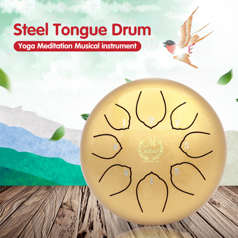 Professiona 8 Tone Key Lotus Empty Drum Steel Tongue Drum Tank Instrument Hand Pan Music Education G Tune C Key For Music 2020