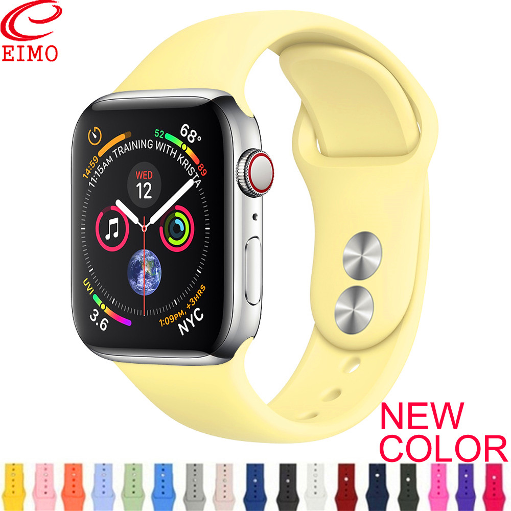 Strap For Apple Watch 1/2/3/4 Sport Silicone Belt 38mm 42mm IWatch Band 44mm 40mm Color Bracelet Correa Apple Watch Accessories