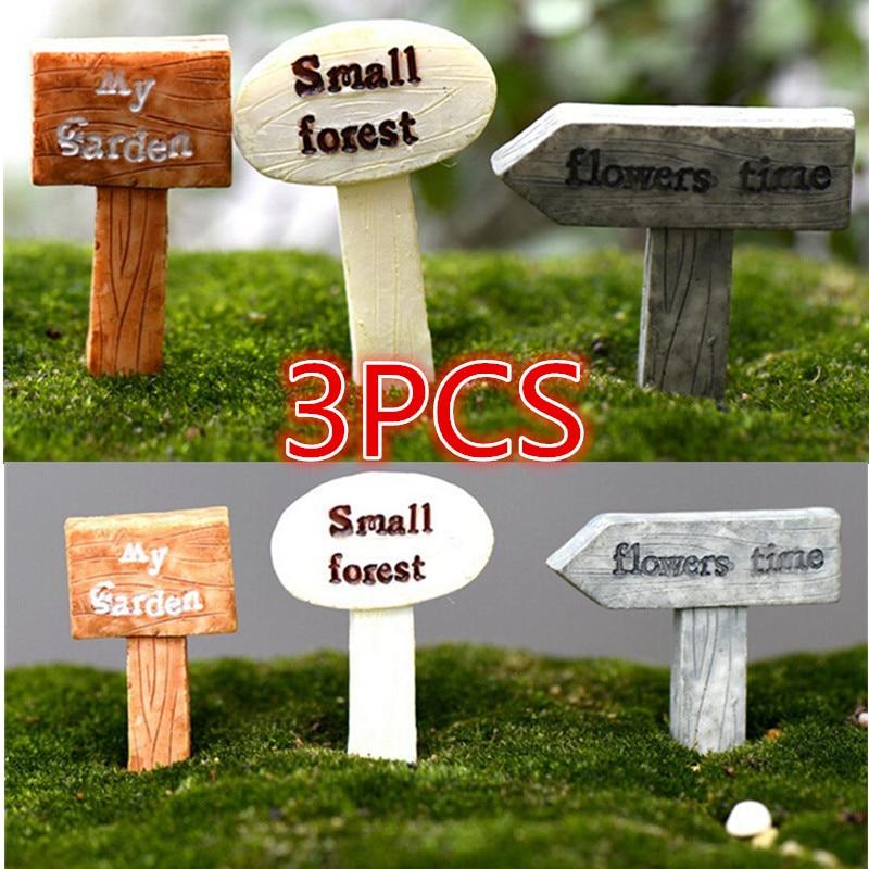 Miniatures Fairy Garden Gnome Moss Terrarium Decor Signboard Bonsai Figurines Micro Landscape Resin Crafts Sign Board Hot Sale