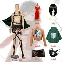 Ataque em titan mikasa ackerman cosplay traje peruca capa peruca jaqueta saia correias de cinto shingeki nenhum kyojin mikasa akkaman cachecol