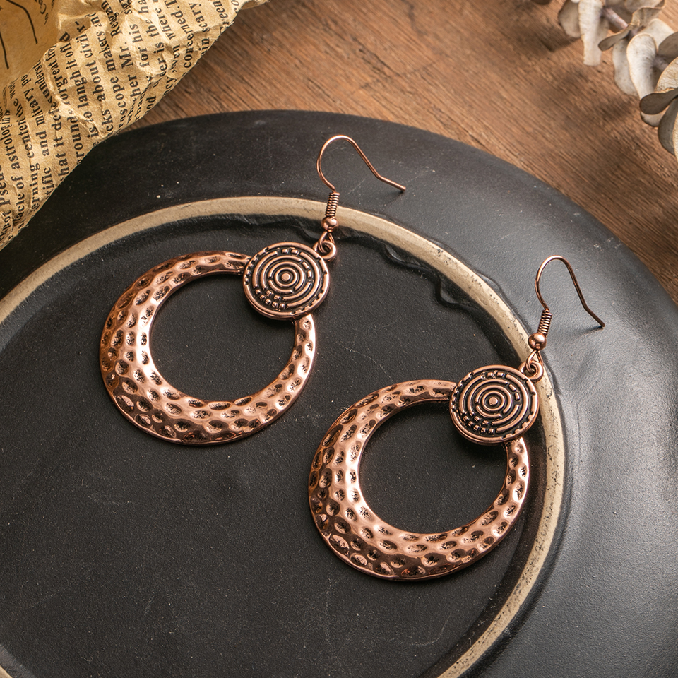 Simple Vintage Leopard Autumn And Winter Teardrop Earrings For Women Metal Leaf Round Circle Water Drop Pendant African Jewelry