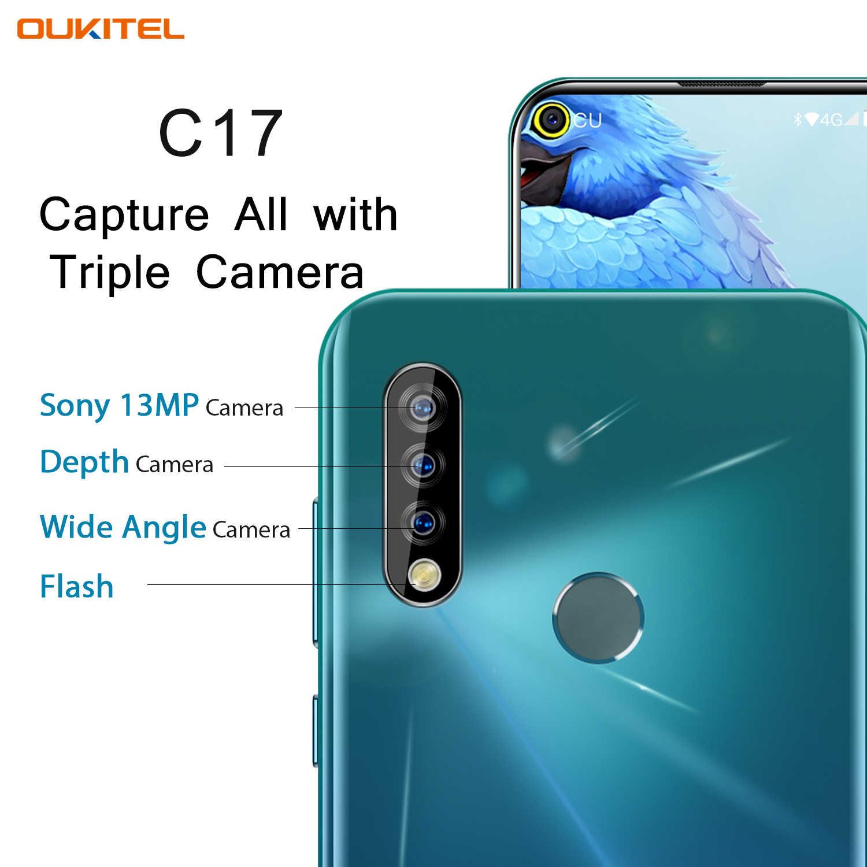 Oukitel C17 6.35 ''Ba Camera Điện Thoại Thông Minh MT6763 Octa Core Android 9.0 3GB 16GB Mặt ID Vân Tay 4G Di Động 3900 MAh