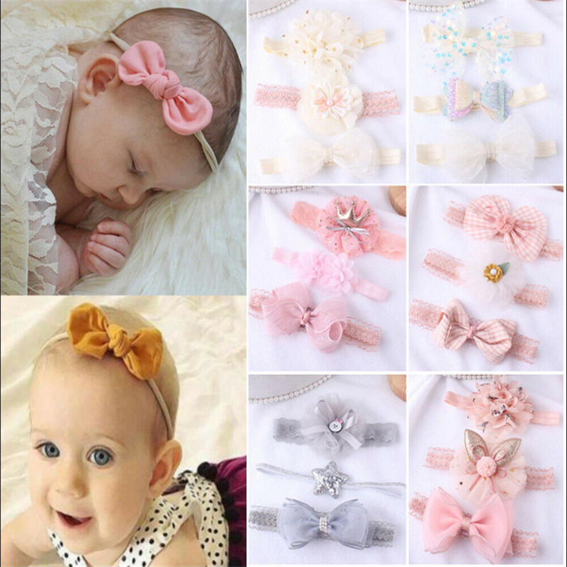 3 Pieces//Set Newborn Baby Girl Headband Bow Flower Elastic Hair Band Accessories