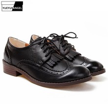 New Spring Vintage Fashion Womens Low Heels Shoes British Style Retro Fringe Tassel Wing Tip Brogues Lace Up Oxford Shoes Black