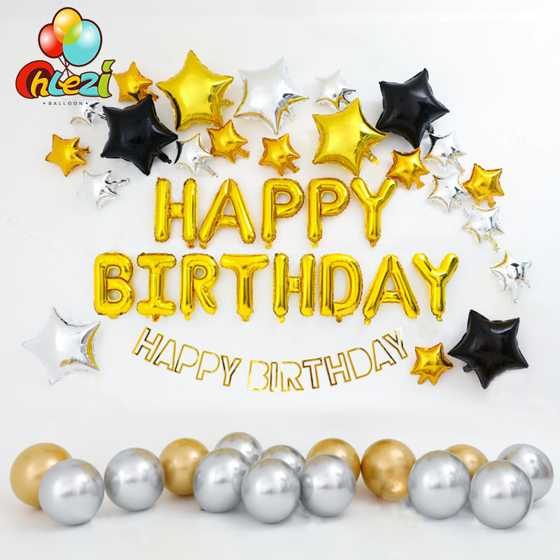 <font><b>1</b></font> Set Gold silver <font><b>Birthday</b></font> Balloons Chrome metal Helium latex balloon star for Boy <font><b>Girl</b></font> adult <font><b>Birthday</b></font> Party <font><b>Decorations</b></font> shower image