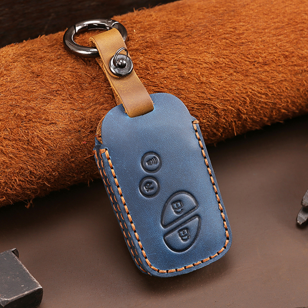 4 Buttons Blue Leather Key Fob Case Cover For Lexus IS250 ES240 ES350 RX270 RX350 RX300 Keyless Entry Remote Key Car Accessories