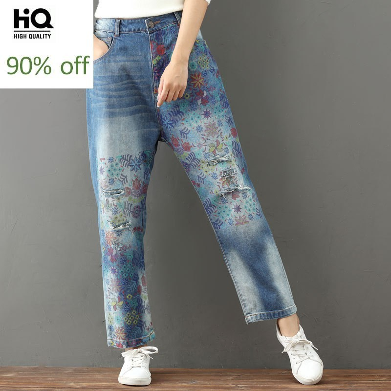 Autumn Printing Floral Denim Trousers For Women Bleached Casual Straight Zipper Torn Jeans Femme Loose Fit Vintage Long Pants