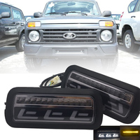 For Lada Niva 4X4 URBAN 1995 1996 LED DRL lights with White Running Amber Turn Signal Function Accessories Car Styling Turning
