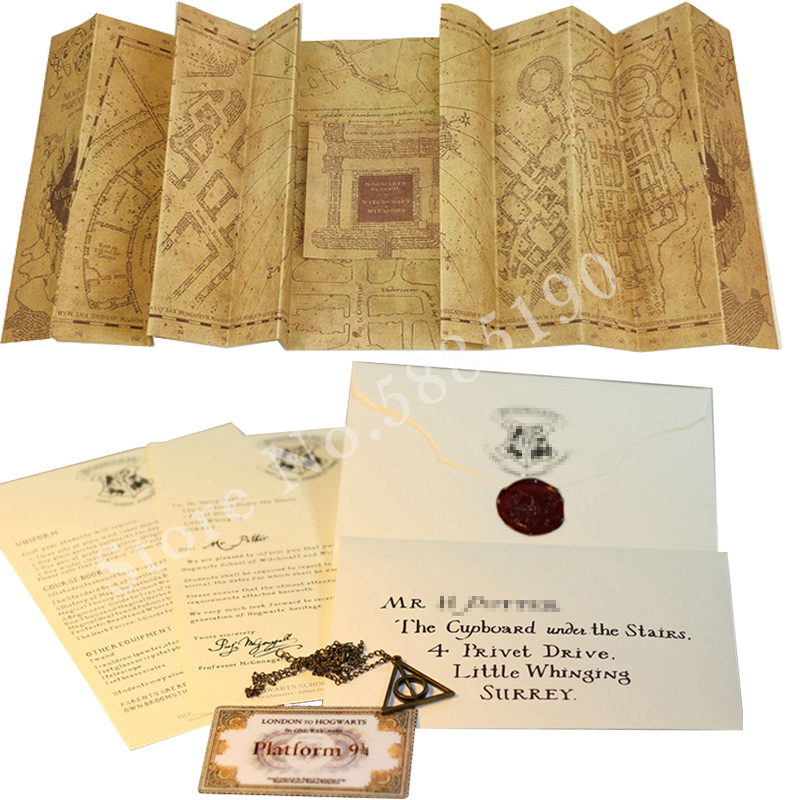 Potters The Marauder's Map Students Harried Cosplay Hogwart Acceptance Letter Wizard School Ticket Deathly Hallows Necklace
