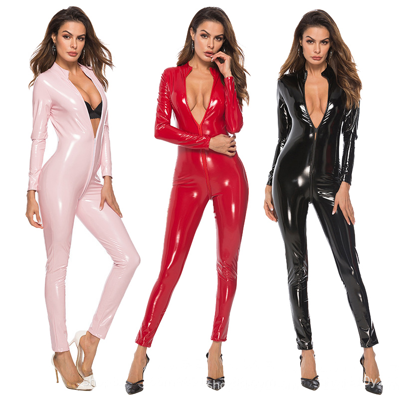 Latex Catsuit Faux Leather Women Jumpsuits Black Wetlook PVC Bodysuit Sexy Bodycon Erotic Open Crotch Costume Clubwear