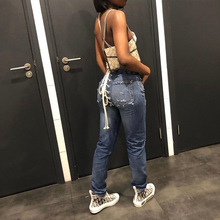High Waist Jeans Women Lace Up Pencil Jeans Skinny Casual Ko