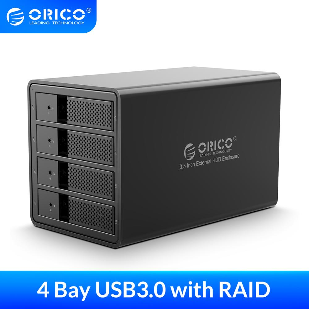 ORICO 4 Bay 3.5'' USB3.0 With RAID HDD Enclosure Support 64TB RAID HDD Docking Station With 150W Built-in Power Adapter HDD Case