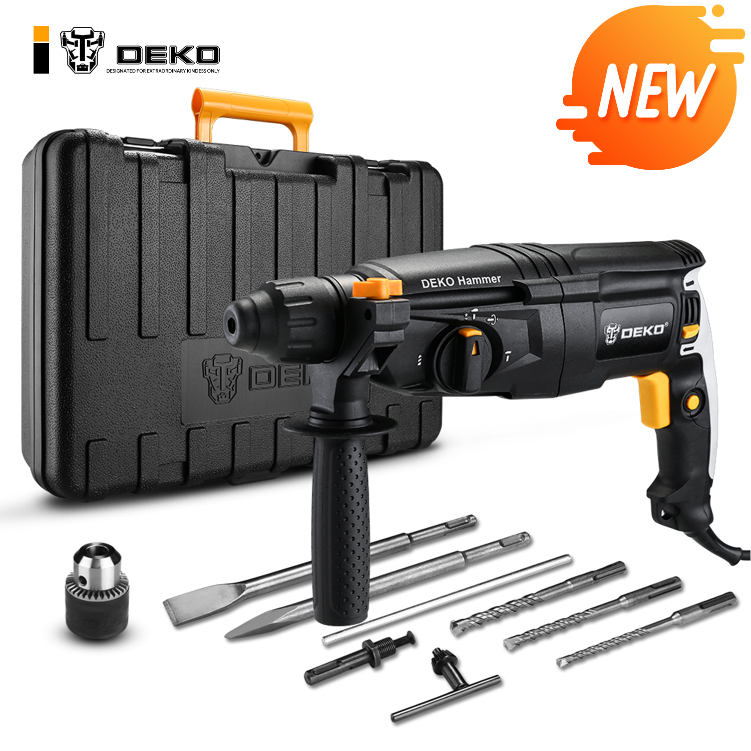 DEKO GJ181 220V 26mm 4 Functions AC Electric Rotary Hammer with BMC and Accessories Impact Drill Power Drill Electric Drill(China)