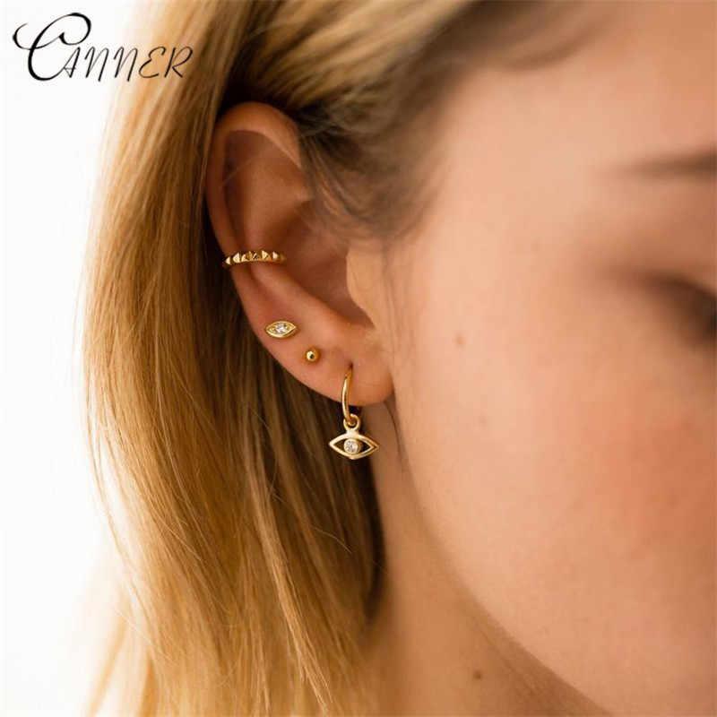 CANNER 2019 Nueva joyería de moda 925 pendientes de plata de ley para mujeres Mini circonita ojos malvados pendientes de perno pequeño oreja coreana pendientes