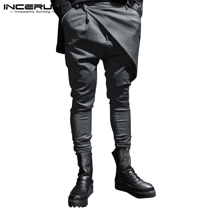 Fashion Punk Style Men Pants Button Streetwear 2020 Joggers Solid Casual Irregular Trousers Men Harem Pants INCERUN Plus Size