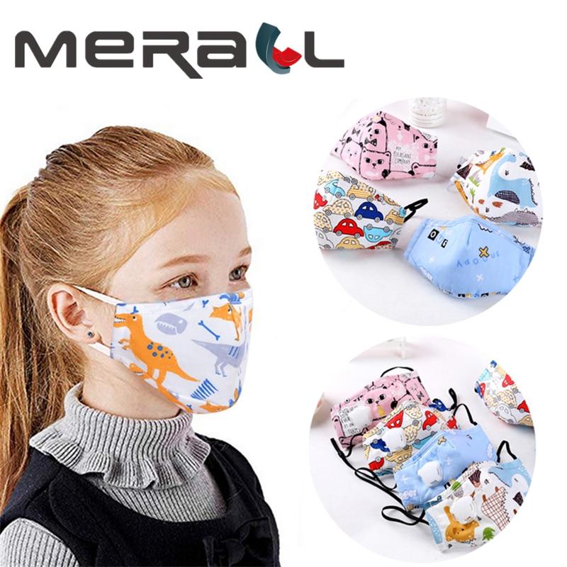 Children Face Mask PM2.5 Kids Cotton Mouch Mask Child Anti Dust Bacteria Proof Masks Non-woven Fabric Breath Valve Unisex Care