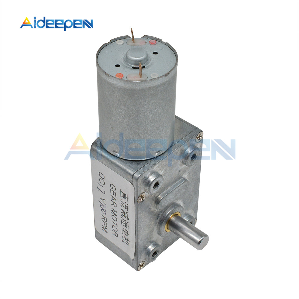 4632-370 DC 12V 1 5 10 20 50 100 200 250RPM High Torque Turbine DC Worm Gear Reducer Worm Geared Motors Reversed Reduction Motor image