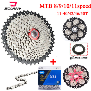 BOLANY 11-40/42/46/50T MTB Bike Cassette 8/9/10/11speed Mountain Bike Sprocket Derailleur Fit Shimano/SRAM image