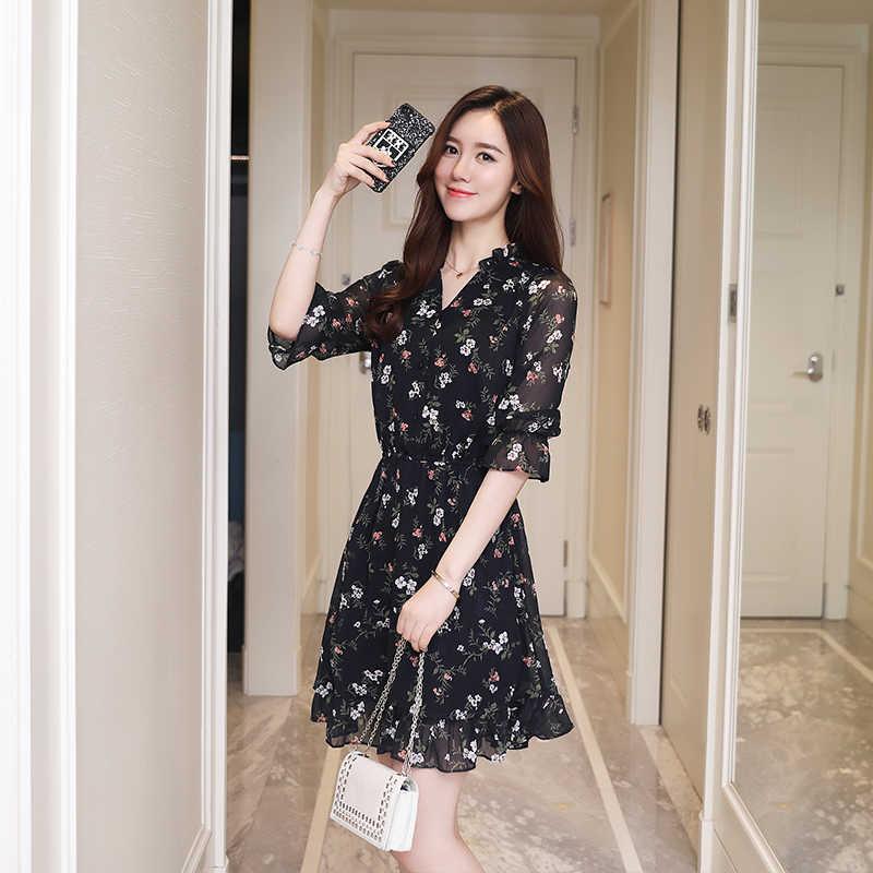 Плюс размер летняя женская ретро цветочные пляжный ветер шифон платье рубашка стиль бохо платье 2018 Корейская версия элегантного женского вечернего платья мини-сексуальное платье повседневная солнце пляжное платье Ves