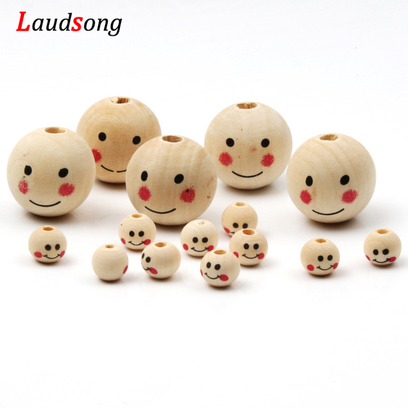 20pcs Glossy Natural Wooden Smile Face Beads Round Ball Crafts Bracelets DIY
