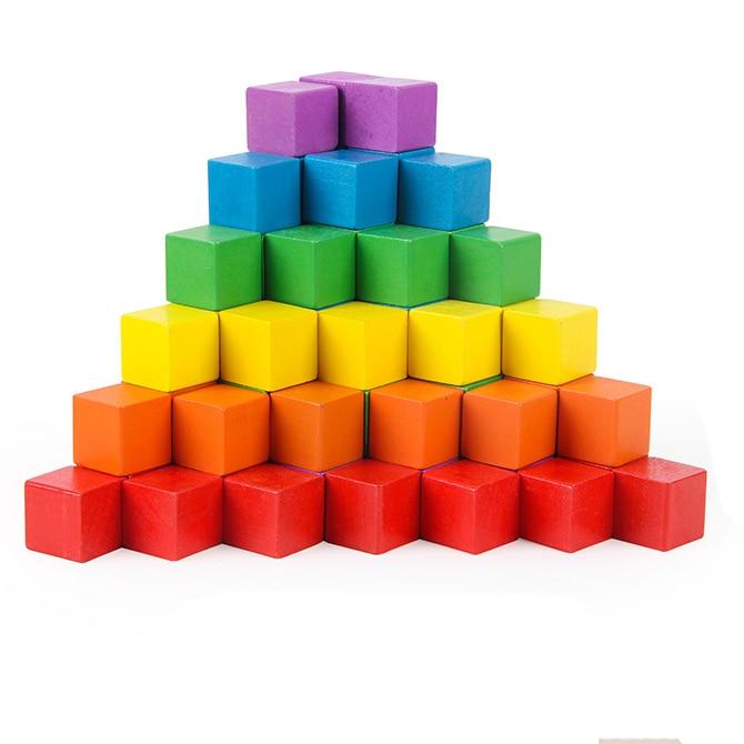 100 pièces 1 cm 1.5 cm 2 cm cubes en bois colorés dés de bois jeux de société pour la famille et les enfants jeu de société 6 couleurs