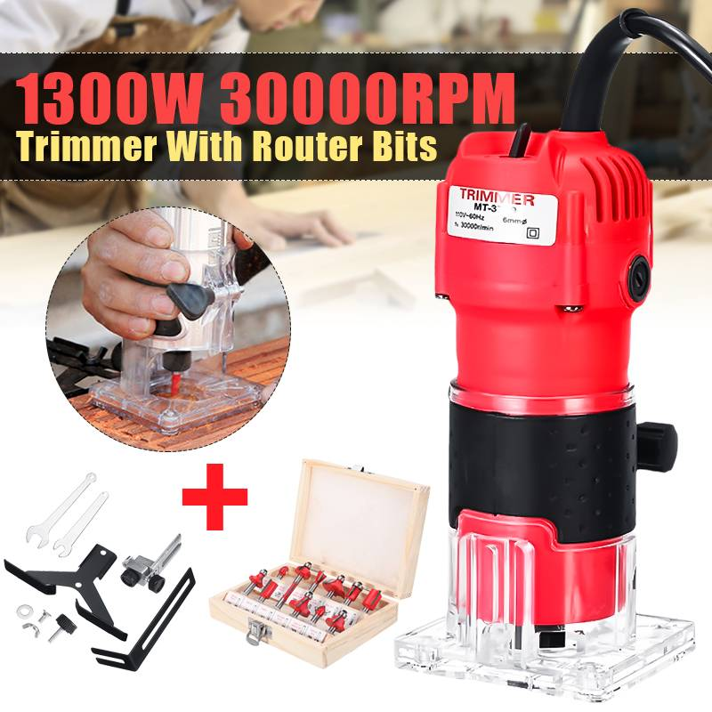 220V 1300W Woodworking Electric Trimmer Wood Router Joiners Carving Machine 6.35mm Hand Trimmer Milling Engraving Power Tool