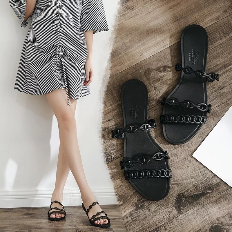 Summer Beach Woman Flip Flops Valentine Slippers PVC Slides Female Sandals Slip on Flat with Women Studs Slippers Jelly Shoes 5