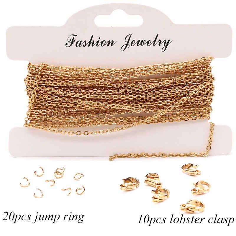 Aiovlo 5 metros 2mm de acero inoxidable cadenas de collar y cierre de langosta para DIY pulsera y collar materiales de fabricación de joyas