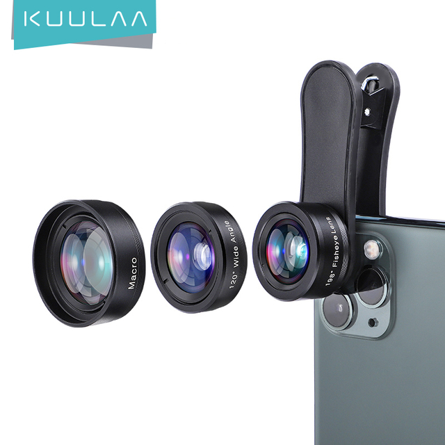 KUULAA 4K HD טלפון סלולרי מצלמה עדשת ערכת 3 ב 1 רחב זווית עדשת מאקרו עין דג עדשות עבור iPhone 11 פרו מקס Huawei P20 פרו סמסונג