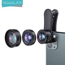 KUULAA 4K HD aparat w telefonie komórkowym zestaw obiektywów 3 w 1 obiektyw szerokokątny makro obiektywy typu rybie oko dla iPhone 11 Pro Max Huawei P20 Pro Samsung