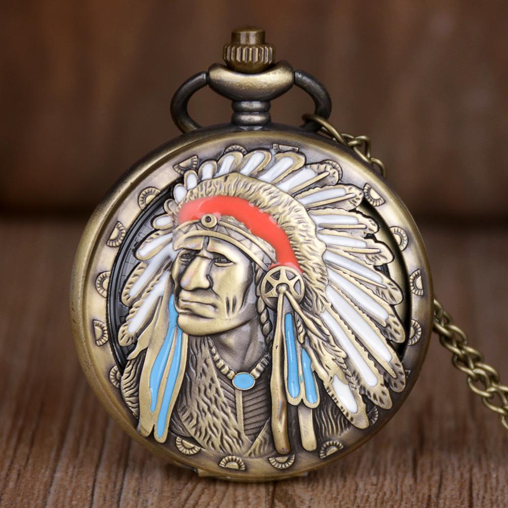 Ancient Indian Old Man Quartz Pocket Watch Bronze Men Retro Bronze Necklace Chain Clock Gifts For Men Women Drop Shipping