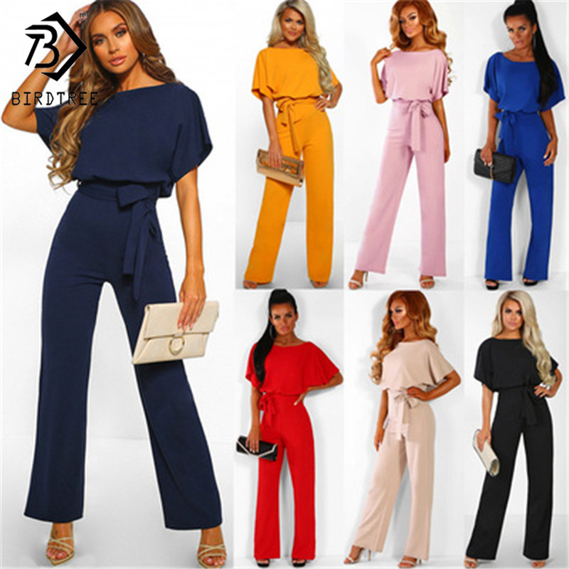 7 Colors Plus Size 3XL Classic Solid Jumpsuit Rompers Lace Up Back Button Short Sleeve Women Overalls Pants Summer