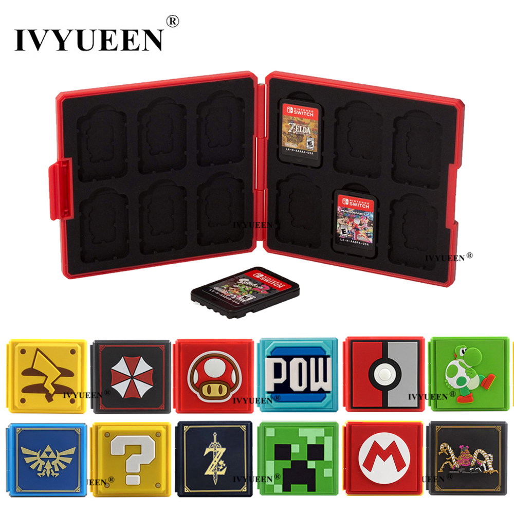IVYUEEN 14 Colors For NintendoSwitch Lite NS Premium Game Cards Storage Case Protective Cover Hard Shell Box Gaming Accessories