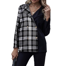 Plaid Stitching Laple Collar Women Blazer Jacket Double Breasted Metal Buttons Blazer Slim Fitting Coat Office Ladies Outfit