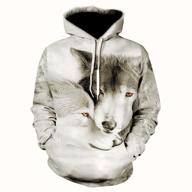 Stylish male and female animal shiny glowing Wolf 3D digital printed pullover hoodie