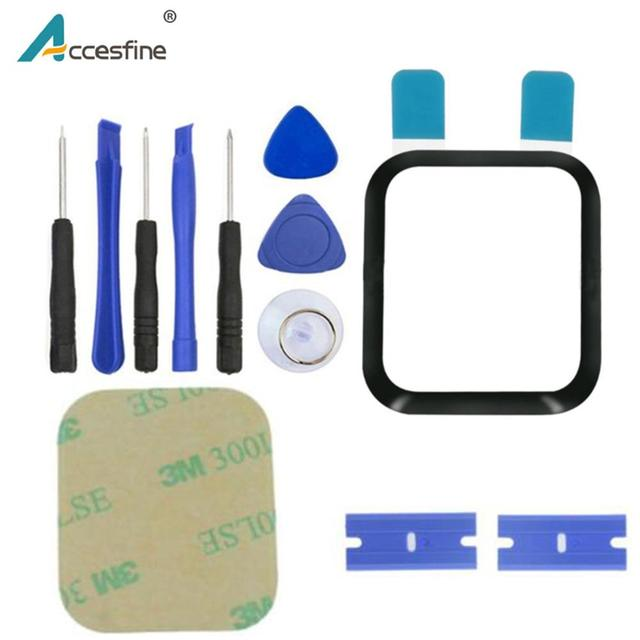 Front Outer Glass replacement Parts For Apple Watch Series 4 5 40mm 44mm Series 3 38mm 42mm Touch Screen Panel With Adhesive