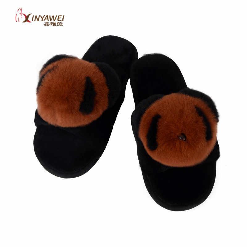 100% gerçek kürk yün kadın terlik ev ayakkabı sıcak kış moda floplar kış terlik kadın peluş terlik