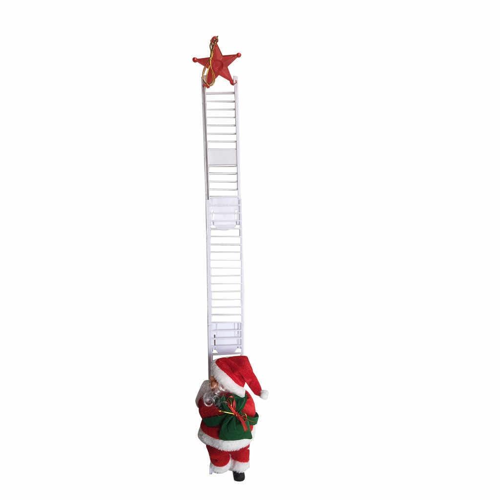 1 قطعة سانتا كلوز تسلق سلم الكهربائية دمية سانتا كلوز تعليق شجرة الكريسماس حلية في الهواء الطلق داخلي الباب الجدار الديكور